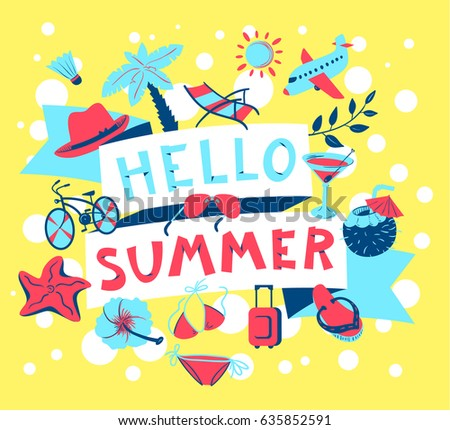 Summer Banner. Beach Season Background With Summer Cute Objects   Glasses,  Bike, Plane