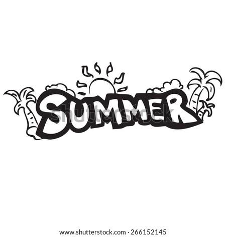 Summer Banner Doodle - stock vector