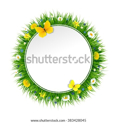 Summer Banner With Grass And Flowers With Gradient Mesh, Vector Illustration - stock vector