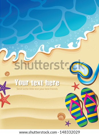 summer beach background with flips and seashell - stock vector