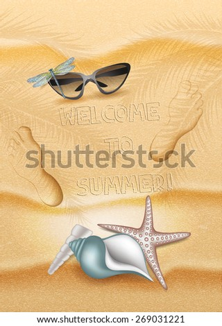 Summer beach background with  sand,shells,sunglasses  and footprints - stock vector