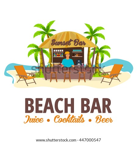 Summer Beach Bar Travel Juice Cocktails Beer Lounge Chair