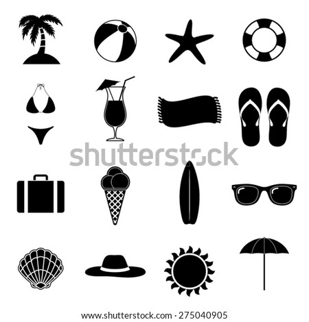 Summer Beach Black Vector Illustration / Silhouette Icons / Beach Paradise / Vacation Set / Black & White Illustrations / Vacation On The Sea - stock vector
