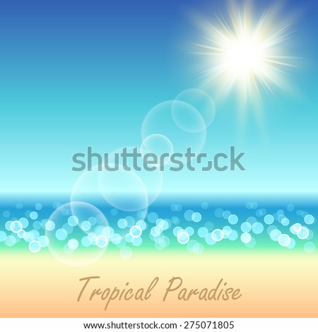 Summer beach blur bokeh landscape background.  Vector illustration.
