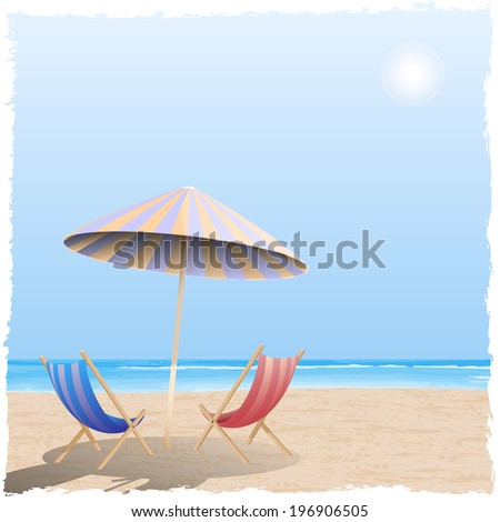 Summer beach by the sea, ocean. EPS 10, Vector Illustration