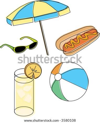 Summer beach clip art vector - stock vector