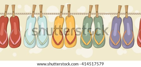 Summer beach colorful flip flops seamless border. Bright positive sandals background for touristic business, scrapbooking, wrapping and clothing. - stock vector
