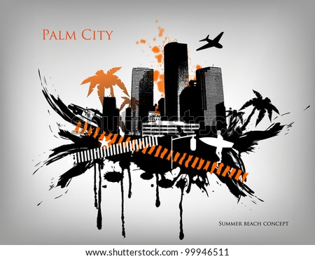 Summer beach concept downtown party city with palm tree - stock vector