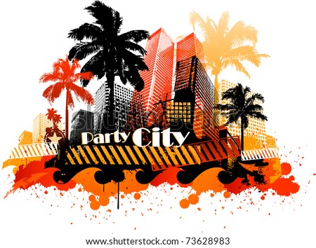 Summer beach concept downtown party city with palm tree and colorful paint splat - stock vector