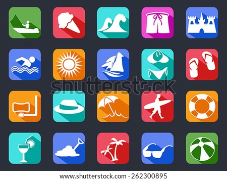 summer beach flat icons set with long shadow - stock vector