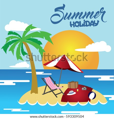 Summer Beach Holiday Vector Illustration Flat Design Usable For Post Card Poster Etc