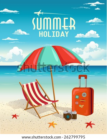 Summer beach holiday vector retro background. Travel and Vacation concept. - stock vector