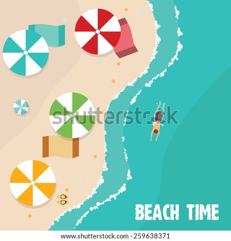Summer beach in flat design, aerial view, sea side and umbrellas, vector illustration - stock vector