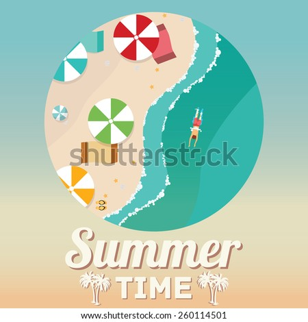 Summer beach in flat design, aerial view, sea side and umbrellas, vector illustration. - stock vector