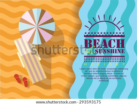 Summer beach in flat design, sea side and beach items, vector illustration. summer poster - stock vector
