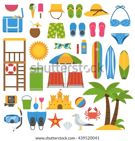 Summer beach items collection. Summertime sea vacation vector icon set. Sunbathing accessories and outdoor activity beaches elements. Marine sports and leisure symbols. Summer beach icons. - stock vector
