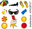 summer beach items isolated on withe - stock photo