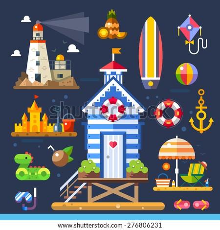 Summer beach. Living near the sea. Kids fun - beach ball, sand castle. Job sailor - lighthouse, anchor. Water sports - surfboard, diving. Vector flat illustration - stock vector