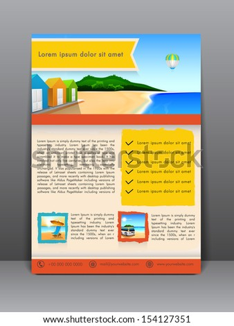 Summer beach parties flyer, brochure or cover design.  - stock vector