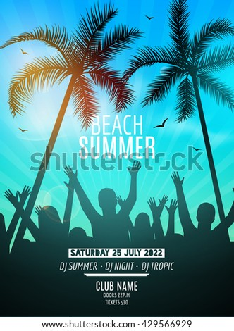 Summer beach party design template. Party people silhouette template. Dance disco poster flyer mockup. - stock vector