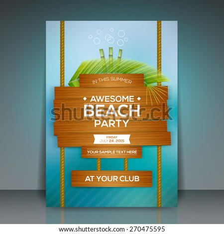 Summer Beach Party Flyer Design - EPS10 Vector Illustration  - stock vector