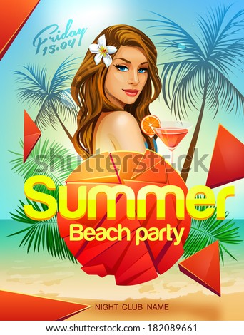Summer beach party flyer design with sexy girl - stock vector