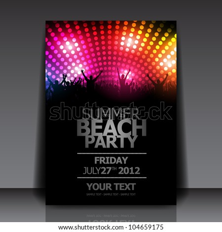 Summer Beach Party Flyer Template - Vector Design - stock vector