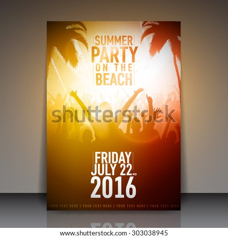 Summer Beach Party Flyer - Vector Template Design - stock vector