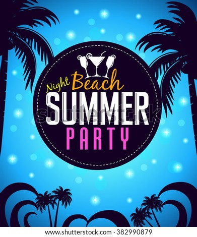 Summer Beach Party in a Circle with Palm Trees in Blue Background. Vector Illustration