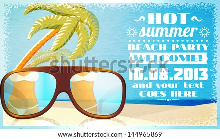 Summer beach party invitation with glasses on the beach sand with palms and ocean behind. Vector. - stock vector