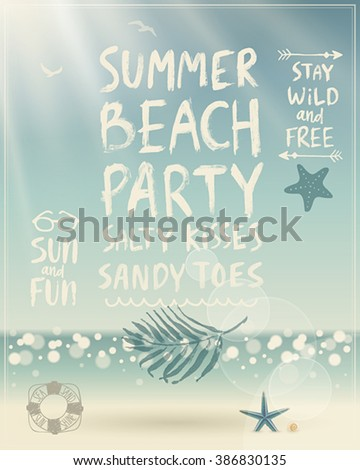 Summer Beach Party poster with handwritten calligraphy. Vector illustration. - stock vector