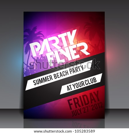 Summer Beach Party Vector Flyer Template - EPS10 Design - stock vector