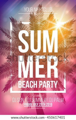 Summer beach party vector flyer template with palm and frame. Vector background for banner, poster, flyer, card, postcard, cover, brochure. - stock vector