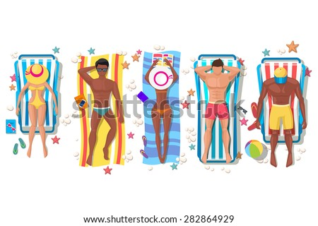 Summer beach people on sun lounger icons on white background. Relaxation holiday, sunbathing and leisure, girl body. Vector illustration - stock vector