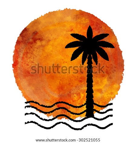 Summer beach print. Watercolor circle pant stain, palm tree, waves black hand drawn isolated on white background