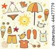 Summer beach set - stock photo