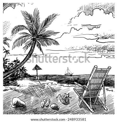Summer beach sketch background with palm chair coconut and yacht vector illustration - stock vector