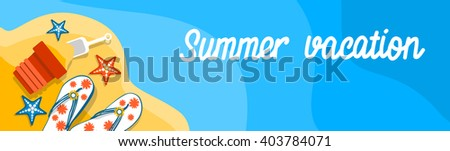 Summer Beach Vacation Set Sand Tropical Banner Flat Vector Illustration - stock vector
