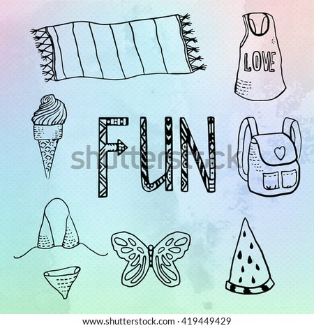 Summer beach vacation symbols set, hand draw illustration on watercolor vector background - stock vector