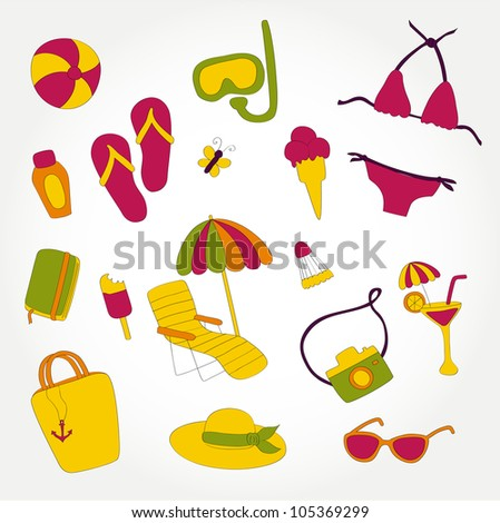 Summer beach vacations vector icon set