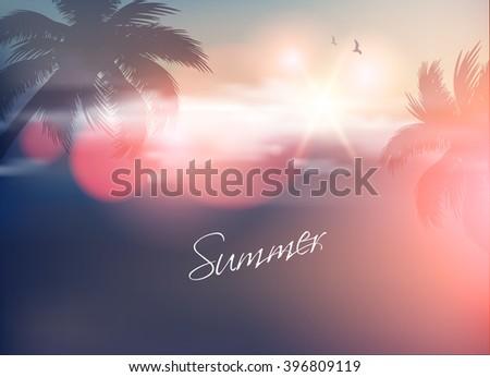 Summer Beach-Vector background - stock vector