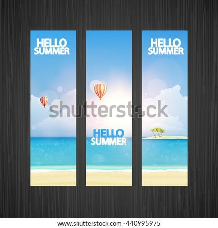 Summer beach vector banner illustration.   - stock vector