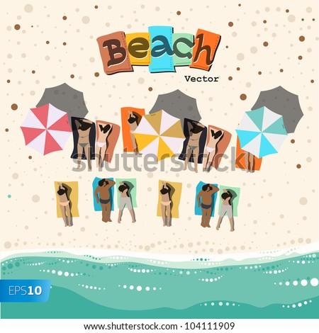 Summer beach vector eps10 image. - stock vector