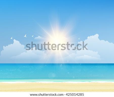 Summer beach vector illustration. - stock vector