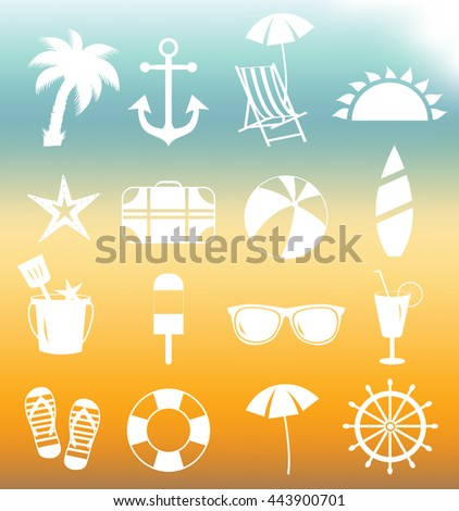 Summer beach white icons. Vector illustration.