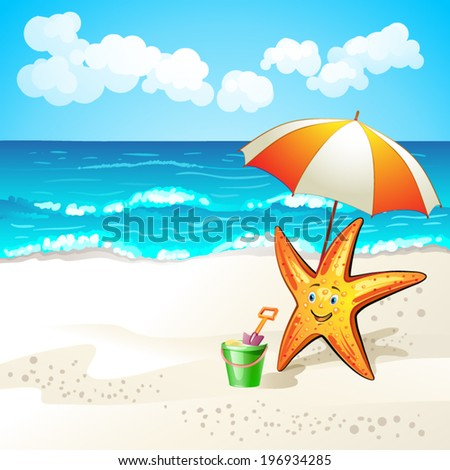 Summer beach with cartoon starfish and umbrella - stock vector