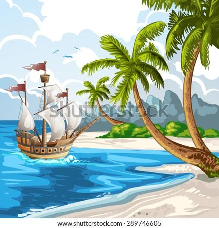 Summer beach with going ship - stock vector
