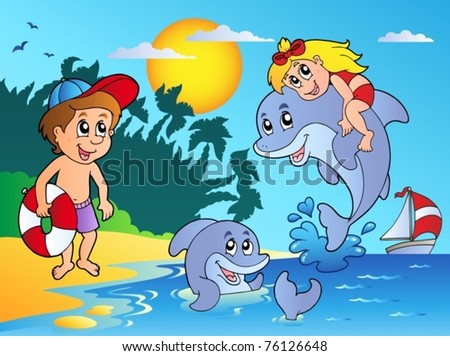 Summer beach with kids and dolphins - vector illustration. - stock vector