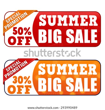 Summer big sale banners on white background, vector illustration