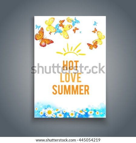 Summer blank with butterflies.Summer sky background. Bright summer blank with flowers and butterflies. Nature template for design banner,ticket, leaflet, card, poster and so on. - stock vector